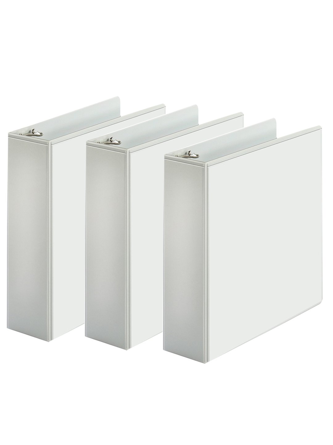 3-Ring Binder, Presentation View Binders - 2 Interior Pockets - Easily organize projects, presentations, and more - Clear Front For Easy Customization - Holds 625 Sheets - 3-Pack (3-Inch, White)