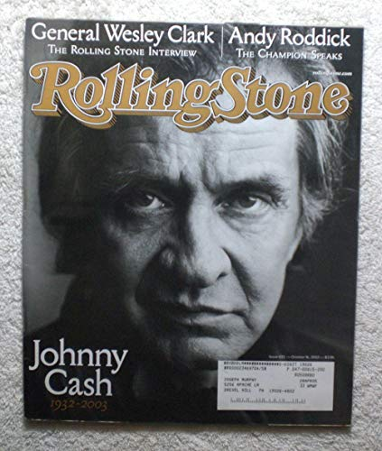 In Memorium, Tribute to/Death of Johnny Cash - Rolling Stone Magazine - #933 - October 16, 2003 - General Wesley Clark Interview, Andy Roddick (Tennis) articles