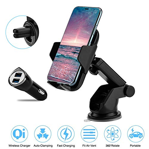 Wireless Car Charger, Prymax Qi Wireless Charging QC Fast Charge Car Phone Holder, Infrared Induction Automatic Open & Lock, Dashboard & Air Vent Phone Mount Compatible with Samsung iPhone