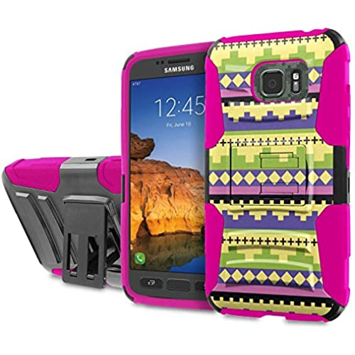 AT&T [Galaxy S7 Active] [5.2 Screen] Armor Case [SlickCandy] [Black/ Hot Pink] Heavy Duty Defender [Holster] [Kick Stand] Phone Case - [Tribal Ethic Sales