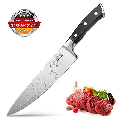 Chef Knife, 8-inch Kitchen Knife, German High Carbon Stainless Steel Knife for Dealing with Meat, Fruit and Vegetables