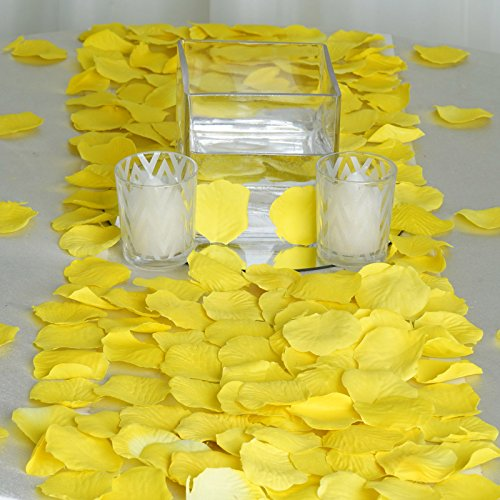 BalsaCircle 2000 Yellow Silk Artificial Rose Petals Wedding Ceremony Flower Scatter Tables Decorations Bulk Supplies Wholesale