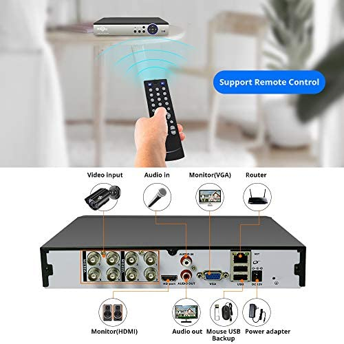 【5MP 8Channel】Hiseeu Security Camera System,H.265+ 8CH DVR + 4Pcs AHD Cameras,Global Phone&PC Remote,Human Detect Alarm,98Ft Night Vision,IP66 Waterproof,24/7 Recording,Easy Setup,Plug & Play,1TB HDD 51iexeUgPjL