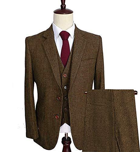 Vincent Bridal Men's 3 Pieces Suits Slim Ft Wool Tweed Tuxedos Classic Groomsmen Blazers(54 Regular,Coffe)
