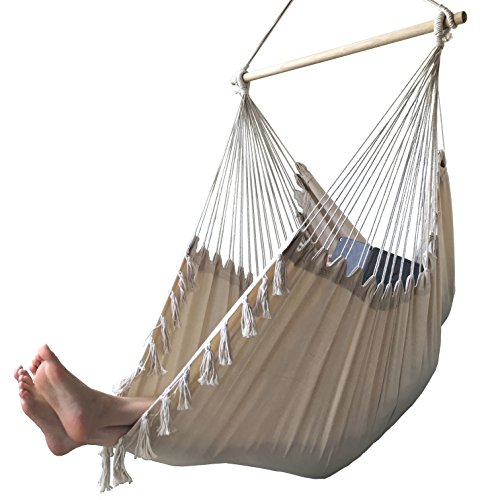 AOW Hammock Chair Swing - XL Nordic Style Hanging Swing Seat tassel Indoor & outdoor (Beige White) by AOW