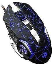 inphic Gaming Mouse Mute Leiser klick, USB Wired Optical Gaming Mäuse mit LED Optical, 4 DPI Anpassungsstufen, 6 Tasten für Laptop, PC, Mac