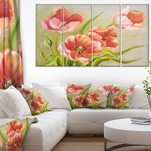Vintage Red Tulips Floral on Canvas Art Wall Artwork