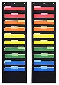 Pack of 2 - Essex Wares Storage Pocket Charts / Ten Pocket Hanging Wall Files - Perfect for Organizing Your Classroom, School, Office and Home (Black)