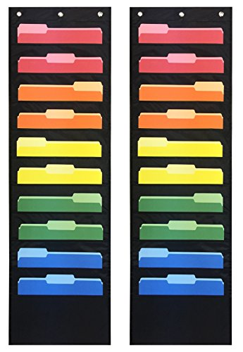 Pack of 2 - Essex Wares Storage Pocket Charts/Ten Pocket Hanging Wall Files - Perfect for Organizing Your Classroom, School, Office and Home (Black) (Storage Pocket Chart)