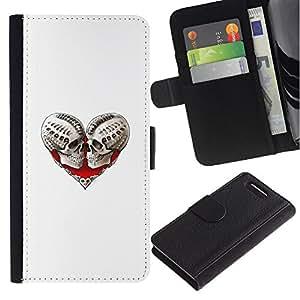 Stuss Case / Funda Carcasa PU de Cuero - Corazón del cráneo de Sangre Amor Huesos Blanca - Sony Xperia Z3 Compact