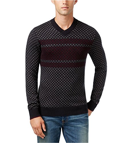 Tommy Hilfiger Nylon Sweater - Tommy Hilfiger Mens Chainlink Stripe Long Sleeves V-Neck Sweater Gray XL