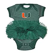 Two Feet Ahead NCAA Miami Hurricanes Children Girls Pin Dot Tutu Creeper,12 Mo,Green