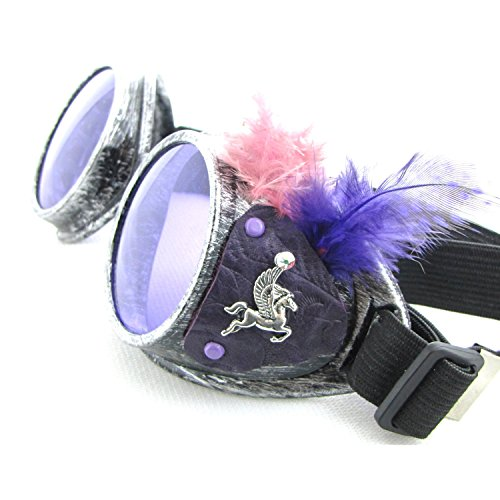 Steampunk Celestial Purple Goggles Feathers Pegasus Moon