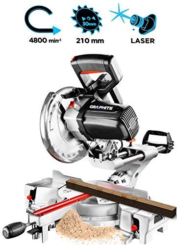 1800 Watt Kappsäge Säge mit Laser Zugsäge Gehrungssäge Paneelsäge Winkelsäge Drehzal:4800 U/min mit Zugfunktion