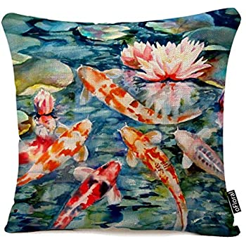 Cushion Cover Throw Pillow case 18x18 inch Colorful koi Fish Swimming Lily Flower Cotton Linen Pillow Cover