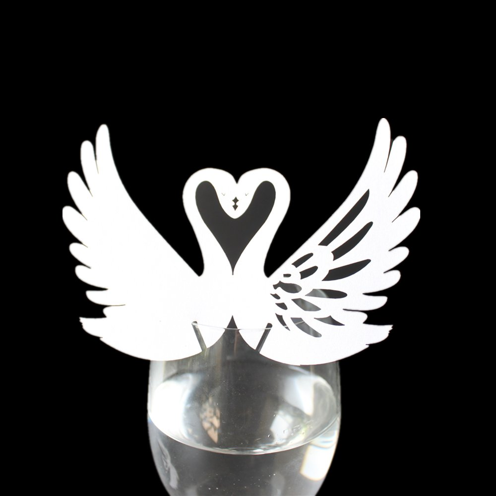 White Approx.50pcs Wedding Table Wine Glass Place Name Cards Swan Shape
