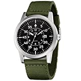 Men's Rugged Special Forces Style Tactical Watch with Green Nylon Band Calendar Date