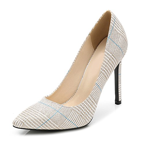 Houndstooth Heel High Pump (MAIERNISI JESSI Women's Houndstooth Pointed Toe Stiletto High Heels Slip On Pumps Golden 46 - US 12)