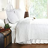 Best Comfort Quilt Set 3 Piece on Sale 100% Cotton Ruffles for Bedding, White, King