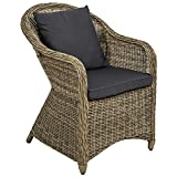TecTake Luxury aluminium wicker chair seat armchair garden conservatory poly rattan natural + seat cushion and back cushion