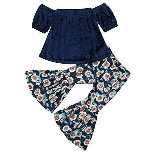 (2PCS Baby Girl Off Shoulder Tube Top Shirt+Ruffle Floral Pants Casual Clothing (Dark Blue, 3-4 Years))