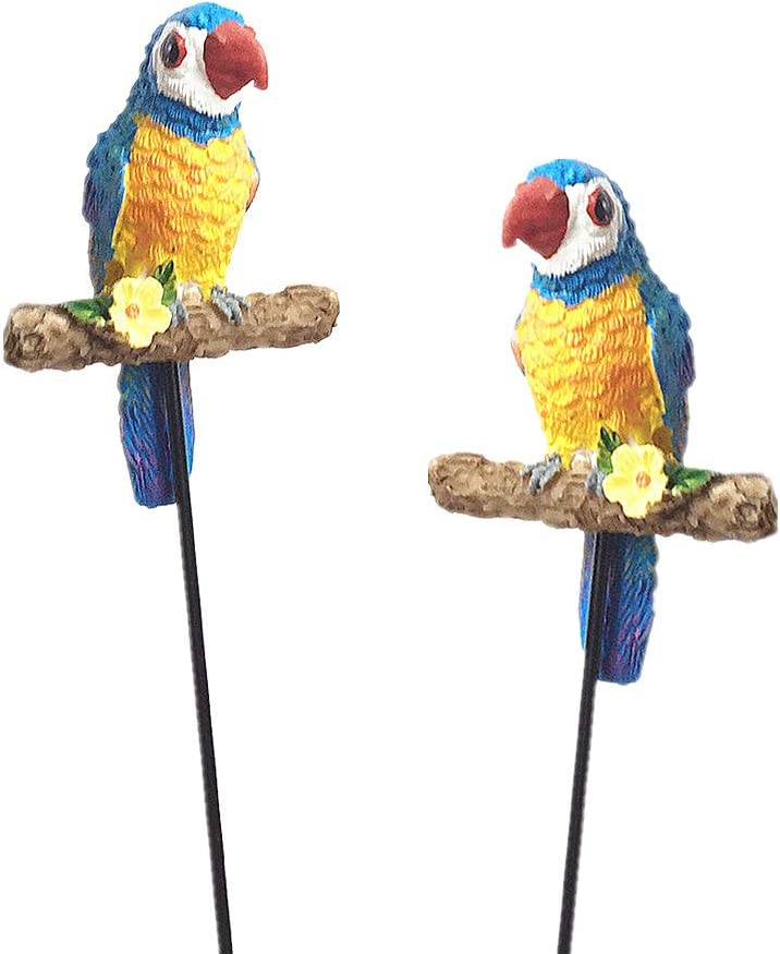 JIUMO Parrot Decorative Garden Stakes 2pack, 9inch Miniature Figurines Accessories Decorations for Indoor/Outdoor Yard, Patio Plant Pot, Flower Bed