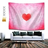 SUNH0ME Tapestry Queen Hippy Red Love Heart Wall Decor Mandala Beach Bedspread Intricate Indian Bedspread Tapestries 60 x 80 Inches