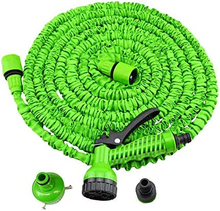 ZTMN Retractable Water Pipe Car Wash High Pressure Nozzle Water Gun Home Watering Hose High Strength Weave + Expandable Latex Tube Easy Storage Green (Size : 49FT)