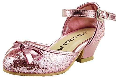 skyhigh Flower Girl's Sparkly Wedding Party Dress Shoes Ankle Wrap Toddler Youth Pump (12, Pink) ()