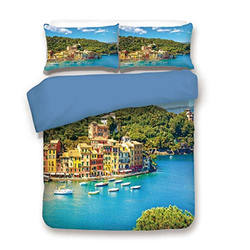 Duvet Cover Set Full Size, Decorative 3 Piece Bedding Set with 2 Pillow Shams, Portofino Landmark Aerial Panoramic View Village and Yacht Little Bay Harbor Decorative ()