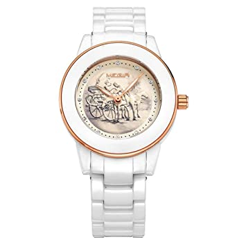 North King Indicación de la Fecha de Relojes señoras Reloj de Cuarzo Pulsera cerámica Moda Reloj Relojes Bonitos para Regalo de cumpleaños de Adultos: ...