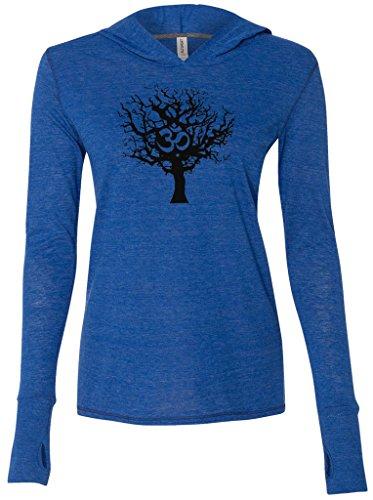 (Ladies Black Tree Tri-Blend Hoodie, Small Royal)