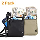 Neck Wallet RFID Blocking- Passport Holder/Concealed Travel Pouch Wallet Carrier (one size, black+khaki)