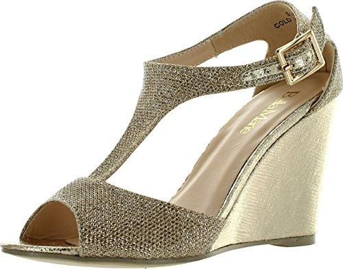 Bella Marie Soho-13 Women's Buckle T-strap Shinny Glitters Peep toe wedge Sandal gold 6