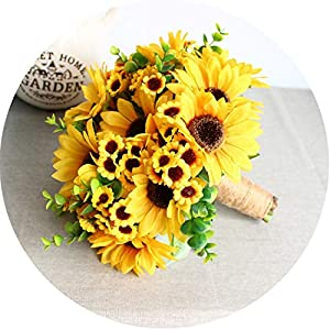 Artificial Sunflower Yellow Wedding Bouquets for Brides Bouquet Wedding Flowers Handmade Flores Novia 119