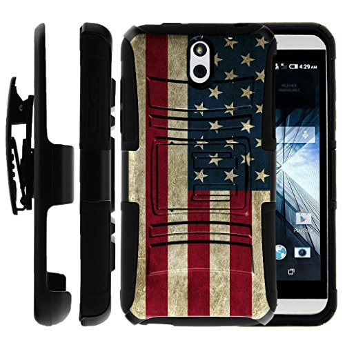 Untouchble Case for HTC Desire 610 | Desire 610 Case [Heavy Duty Clip]- Shockproof Swivel Holster Case with Built in Kickstand - Vintage America Flag