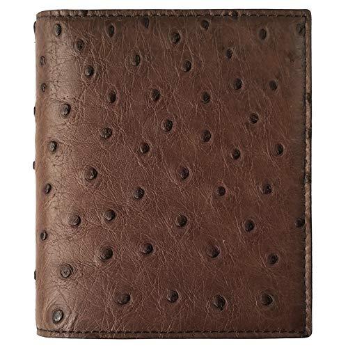 CHERRY CHICK Men's Genuine Ostrich Leather Wallet Genuine Ostrich Skin Bifold Hipster Wallets Hot Gift Idea (Brown-Vertical) (Leather Ostrich Skin Genuine)