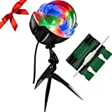Christmas Projector Light - 14 Color Combinations of Steady or Animated Points of Lights Holiday Bundle with Remote and Exclusive Cord Protector (Black, 1)