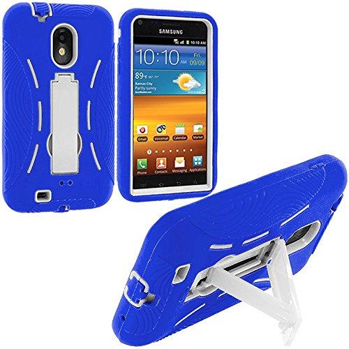 Samsung Sprint Galaxy S2 Case, TechSpec(TM) Blue / White Hybrid Heavy Duty Hard Soft Case Cover with Kickstand (Samsung Sprint Galaxy S2 Case)