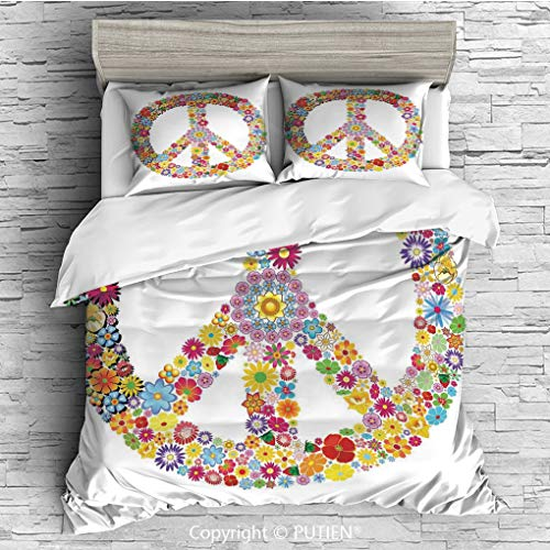 (FULL Size Cute 3 Piece Duvet Cover Sets Bedding Set Collection [ Groovy Decorations,Floral Peace Sign Summer Spring Blooms Love Happiness Themed Illustration Print,Multi ] Comforter Cover Set for Kids)