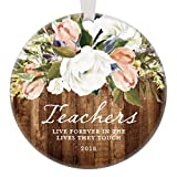 Teacher Christmas Ornament, 2018 Rustic Christmas Gift for Favorite Male or Female Teacher Elementary Middle School Modern Farmhouse Present 3'' Flat Circle Porcelain with White Ribbon & Free Gift Box