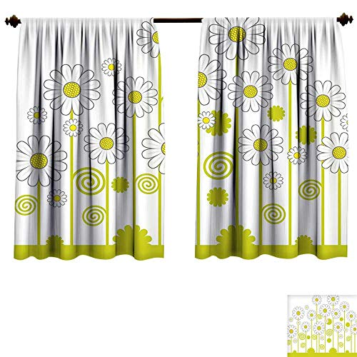 Waterproof Window Curtain Floral Daisy Flowers in a Sunny Day Leaves Garden Cartoon Swirl Details Image Yellow White Blackout Draperies Bedroom (W63 x L72 -Inch 2 Panels) ()
