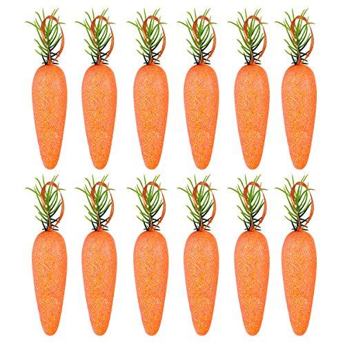 LUOEM 20PCS Easter Artificial Carrots Foam Glitter Powder Simulation Carrots Vegetables Home Kitchen Festival Decoration