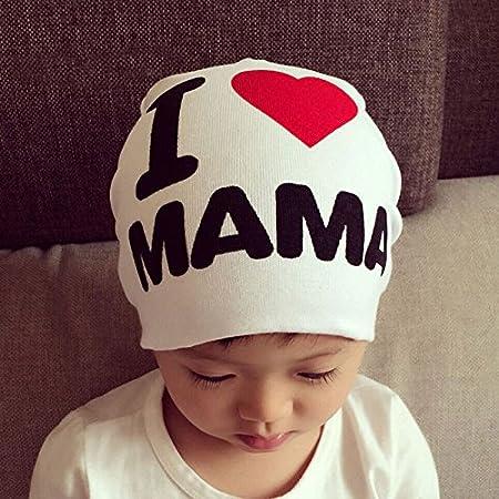 MAXGOODS Unisex Cotton Beanie Hat for Baby Boy/Girl Soft Toddler Infant Cap (MAMA, Black)