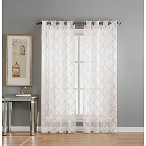 Window Elements Lattice Cotton Blend Burnout Sheer 76 X 84 In Grommet Curtain Panel Pair White