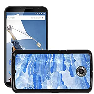 Hot Style Cell Phone PC Hard Case Cover // M00150620 Line Water Blue Design Nature // LG Google Nexus 6