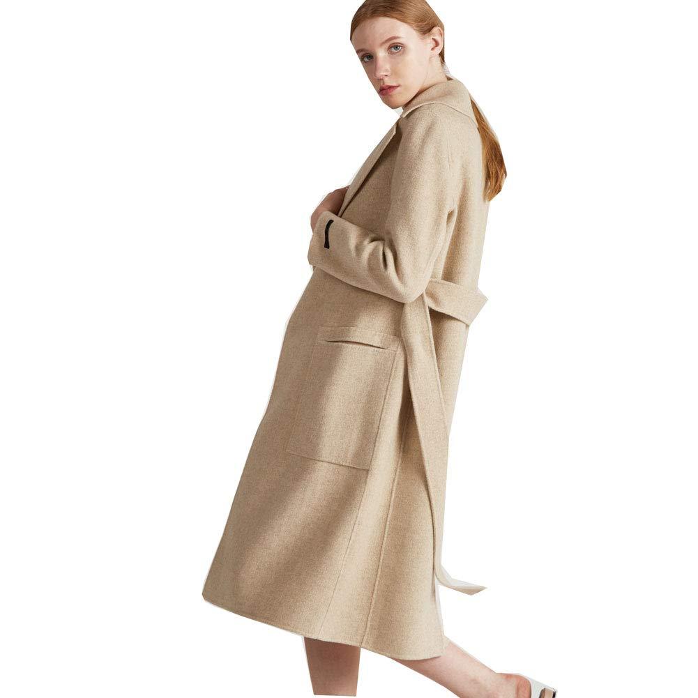 CG Women's Long Double Wool Coat Lapel Parka Jacket Cardigan Overcoat Outwear with Belt G026 (Beige, L) by CG Chris Gelinas (Image #2)