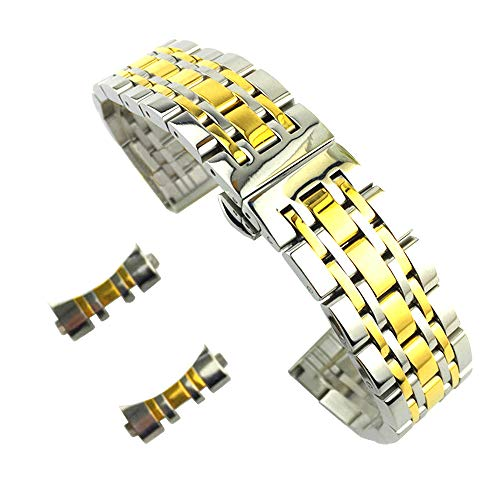 Watch Two Wrist Tone Solid (24mm Solid Stainless Steel Bracelet Belt Replacement Watch Band for Men with Big Wrists In Two Tone Silver and Gold Jubilee Style)