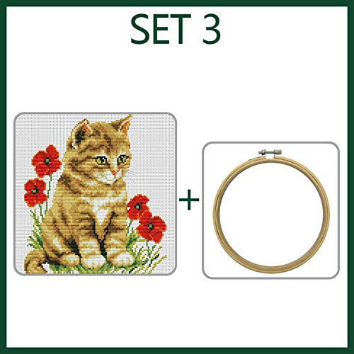 Zamtac Romantic Story Cross Stitch Kits Beginners Embroidery Cat Bedroom Study Decoration Bedroom Study Needlework Cross-Stitch 2132 - (Color: Set 3, Cross Stitch Fabric CT Number: 11CT White Canvas) ()