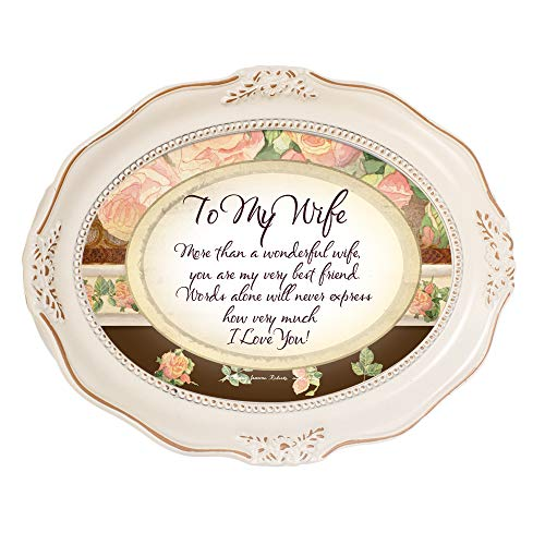 Cottage Garden to My Wife More Than Wonderful Distressed Ivory Wavy 5 x 7 Oval Table and Wall Photo Frame